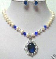 Cultivadas blanco perla colgante collar de zafiro pendiente (China (continental))