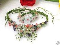 Hermoso!  hechos a mano de flores collar de jade pulsera set (China (continental))