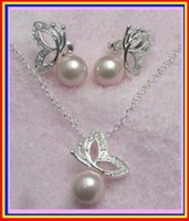 925 MARIPOSA DE PLATA CONCHA collar de perlas / Pendientes (China (continental))