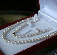 8-9mm AKOYA AGUA SALADA collar de perlas + PENDIENTE (China (continental))