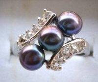 moda negro perla y cz anillo de piedra (China (continental))