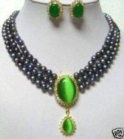Perlas de agua dulce excelente Negro y pendientes collar de jade (China (continental))