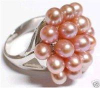Saucy joyas de las mujeres de color rosa perla cultivada anillo / Ringe (China (continental))