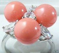maravilloso de color rosa perla de concha de mar cuentas ringe (China (continental))