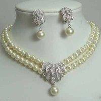 Joyería de lujo de novia de plata collar de perlas de pendiente (China (continental))