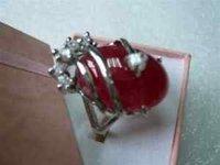 Joyería de plata anillo de color rojo natural de la mujer de jade size7-9 (China (continental))