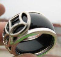 Hermosa Señora de jade negro de tamaño de joyería anillo 8.10 # (China (continental))