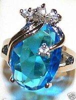 Anillo de compromiso de boda maravillosa azul jade # 6 - # 9 (China (continental))