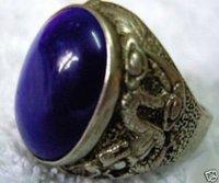 Hermoso anillo de jade tibetano hombre de la plata, (China (continental))