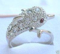Artesanía de relucientes diamantes anillo de plata de delfines Ringe (China (continental))