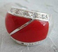 Hermoso maravilloso anillo de coral rojo de cristal (China (continental))