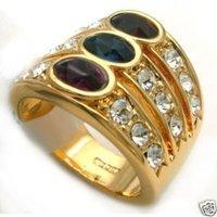 Los hombres bellos con Encanto cristal dorar el anillo de tamaño 7.8,9 (China (continental))