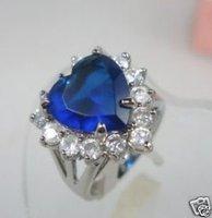 hermosa MARAVILLOSA CRYSTAL BLUE RING CORAZÓN (China (continental))