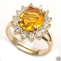 Casa de incrustaciones de cristal de circón amarillo anillo (China (continental))