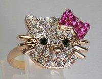 Hermoso gatito Bonjour Estras Anneau hand anillo (China (continental))