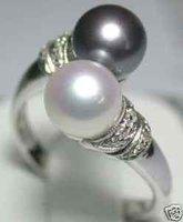Casa de blanco perla de agua dulce negro anillo de tamaño: 6 7 8 9 (China (continental))