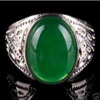 Impresionante plata verde jade de los hombres anillos de tamaño; 8,9,10 (China (continental))