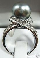 Hermosa bonita concha de perla gris tamaño del anillo 6-9 (China (continental))