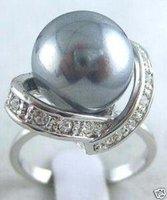 Joyas de fantasía negro concha de perla tamaño del anillo :7-9 (China (continental))