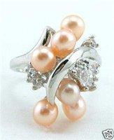 Bellas brillante color rosa perla Fw anillo de plata Anillos (China (continental))