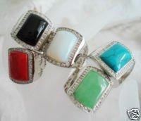 Coral de los hombres y ágata y ópalo y turquesa y jade anillo size10 U (China (continental))