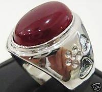 Los hombres de la nobleza de joyería de plata 925 anillo de incrustación de jade de color rojo (China (continental))