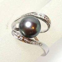 Feria de agua dulce Negro dedo anillos de perlas Tamaño 7 (China (continental))