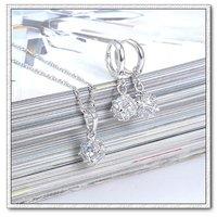 Conjunto de joyas de moda, de cobre con platinado, Cubic Zirconia joyería configuración, colgante y pendientes (twinset), un collar gratis (China (continental))