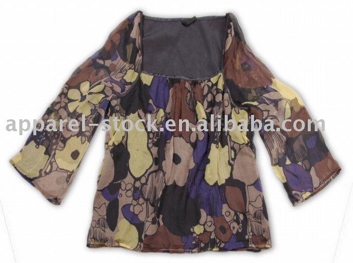 Wholesale women's 100% silk long sleeve blouses,clearance,stock apparel