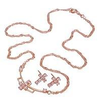 Conjunto de la Cruz, conjunto de moda de joyería, de cobre con oro de 18 quilates chapado, Cubic Zirconia joyería configuración, aretes y collar (twinset) (China (continental))