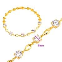 Pulsera de circonio cúbico, la cadena de pulsera de moda, de cobre con oro de 18 quilates chapado en Link, y la cadena de pulsera, joyas de moda (China (continental))