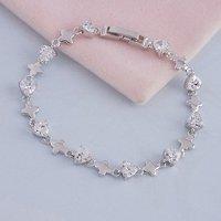 Pulsera de circonio cúbico, la cadena de pulsera de moda, de cobre con platinado Link, y la cadena de pulsera, joyas de moda (China (continental))
