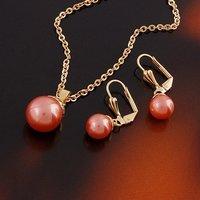 Conjunto de joyas de moda, de cobre con oro de 18 quilates chapado, la configuración de Pearl joyas, colgante y pendientes (twinset), Free collar (China (continental))