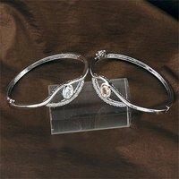 Circonio cúbico de pulseras, pulsera brazalete de grandes ojos, de cobre platinado con joyas, pulseras de moda CZ, Wholse y al por menor (China (continental))