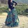 Free Shipping 2015 Flower Print Long Floor Length Cotton Linen Autumn Skirt For Women Winter Irregular Floral Plus Size Skirts