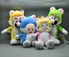 "Free Shipping EMS 100/Lot Super Mario 3D World Plush Toy Doll by Sanei - Cat Luigi Mario Peach Mushroom 7.5""-9"""