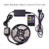 2014 RGB Led Strip 5050 Flexible LED Light 5M 150leds SMD +20 Key music Controller + 12V 3A Power Adapter