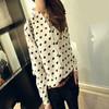 Hot sale New 2014 Vintage Women's Shirt Chiffon Blouse Shirt Love Heart Sweet Black Women Long Sleeve Shirt Tops On Sale 11 Nov