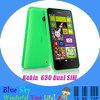 "Original cell phone Nokia Lumia 630 Dual SIM DUAL Standby 5.0MP Camera 4.5"" Capacitive Touch Screen Quad-core Smart phone"