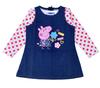 NEW! Free shipping 7sets/lot peppa pig printing denim sleeveless dress with polka dots long sleeve t shirt 2pcs set