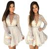 2014 Summer Women Crochet Lace Peplum Dress Deep V-Neck Long Sleeve Lady Sexy Dresses White Chiffon Vestido De Festa LQ1066