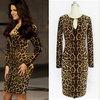 Cheap Clothing! 2015 New Women's Leopard Dress Fashion Round Neck Long Sleeve Bodycon Party Dresses Sexy Club Bandage Vestido