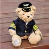 J1 Cute 28cm pilot teddy bear stuffed doll in pilot suit for valentine gift, Plush Teddy Bear TOY