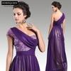 Dorisqueen fast ship elegant 31279 floor length long beaded one shoulder purple sequins sexy 2015 New design evening dresses