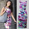 2015 New Fashion Summer Floral Print Dress Women Casual Knee-length A-Line Dress Ladies Chiffon Slim Sleeveless Bandage Dresses