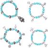 Designs Flower Heart Elephants Owl Pendant Retro Bohemian Style Beaded Turquoise Bracelet Jewelry For Women Shipping B502-B505