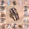 Vintage Weave Love Owl Birds Leaves Tree Arrow butterfly Elephant Cross Artificial Heart Leather Bracelet B528 - B542