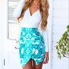 New Celebrity Summer Women Fashion Bodycon Dress Blue Floral Print Bandage Dresses Sexy Long Sleeve Deep V Neck Mini Vestido