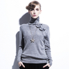 High Quality Knitted Pullover Turtleneck Sweater Bow Appliques Long Sleeve Plus Size Women Sweaters 2015 Spring camisa feminina