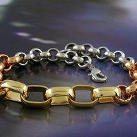 Colores Brazalete doble de cobre con oro de 18 quilates chapado en pulsera, Link y la cadena de pulsera, joyas pulsera de moda (China (continental))